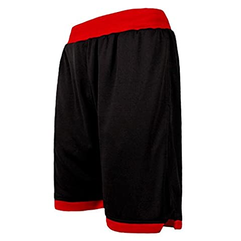 JEASS Men's Basketball Shorts for Men Workout Shorts Trousers with Pockets Mesh Lining Black Red Large