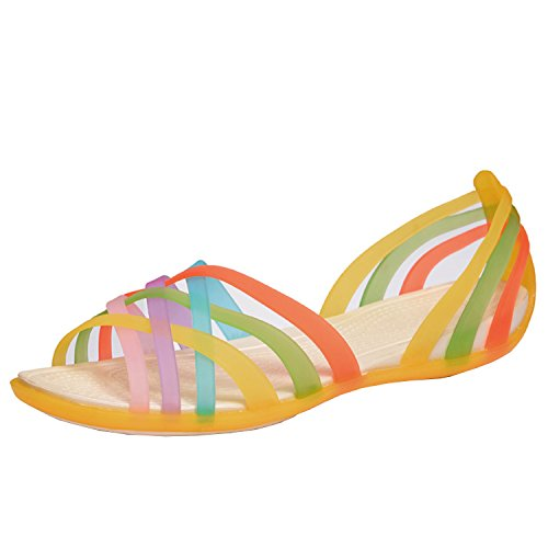 Oasap Women's Multicolor Strappy Slip-on Flat Jelly Sandals Yellow