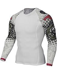 YiJee Manga Larga Tops T-Shirts Formación Aptitud Camiseta Secado Rápido Deportiva Compresión para Hombre