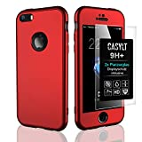 CASYLT [kompatibel für iPhone 5 / 5s / SE] 360 Grad Fullbody Soft-Case Hülle [inkl. 2X Panzerglas] Komplettschutz TPU Handyhülle in Rot