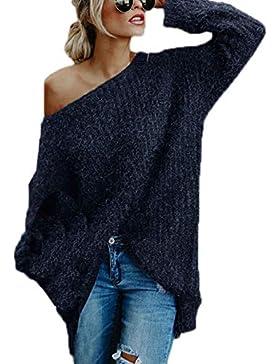 JackenLOVE Otoño Invierno Suéter Mujeres Moda Sweater Prendas de Punto Jerseys Tops Blusa Personalidad Hombro...