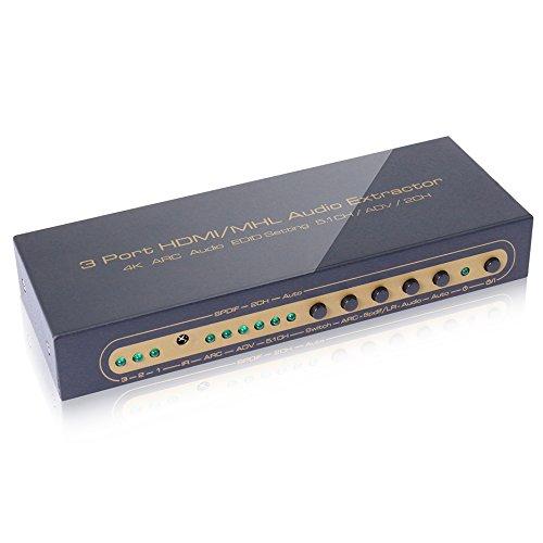 3Porta HDMI/MHL estrattore audio (4K Arc EDID audio regolazione 5.1CH/ADV/2CH), Supporto Full HD 1080P, Arc, Full 3d, 4Kx2K, una ingresso doppio MHL/HDMI e due HDMI Switch di ingresso liberamente a una uscita HDMI.