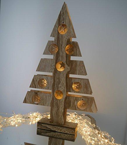 Grande 48cm illuminare funziona a batterie legno rustico tavolo albero di natale con le stelle e fiocchi di neve e bianco caldo led lampade shabby chic natale natale festive finestra/