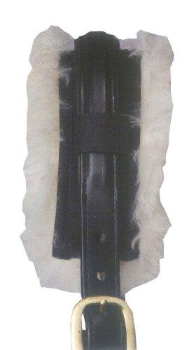 Genickschoner aus echtem Lammfell 31 cm lang für Pferde Halfter, Trense, Turnier, schwarz/natur weich und dicht 31 cm mit Klettverschluss