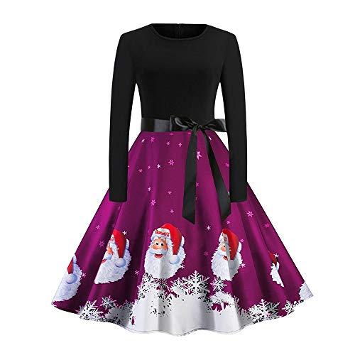 friendGG ❤️❤ Weihnachtskleid Damen Langarm Weihnachten Partykleider Cocktailkleid mit Santa SchneeflockeWeihnachten Geschenk Festlich Rockabilly Kleid Vintage Swing Kleid A-Line Partykleid -