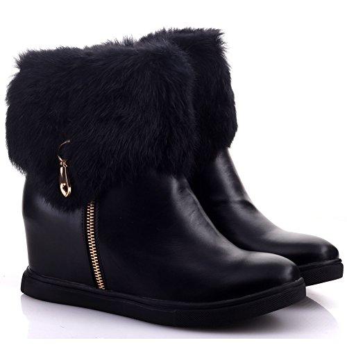 Unze Bottes en peau de mouton zippée hiver cheville Femmes de Moozie ' Noir