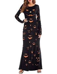 OverDose mujer De Manga Larga Vintage Calabazas Halloween 3D Imprimir Fiesta Casual De Sangre Vestidos Largos