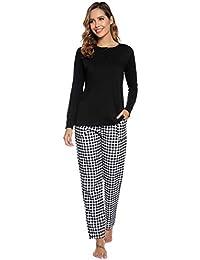Aibrou Damen Lang Kontrastfarbe Pyjama Set, Zweiteiliger Rundhals Schlafanzug Langarm Shirt und Karierte Pyjamahose