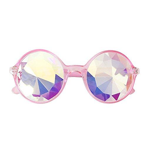 Lazzboy Brille Rave Festival Party Sonnenbrille Gebeugte Linse Sonnenbrillen Für Frauen Schatten Im Freien Groß Randlose Diamant-schneidlinse Classic(Rosa)