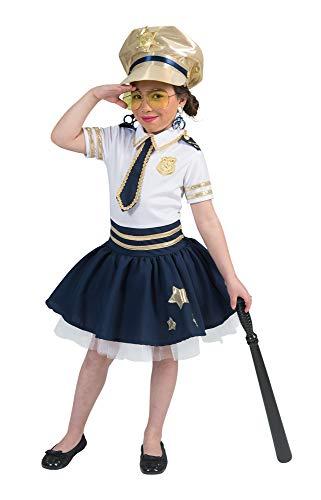 (Polizistin Star Kostüm für Mädchen - Weiß Blau Gold - Gr. 128)