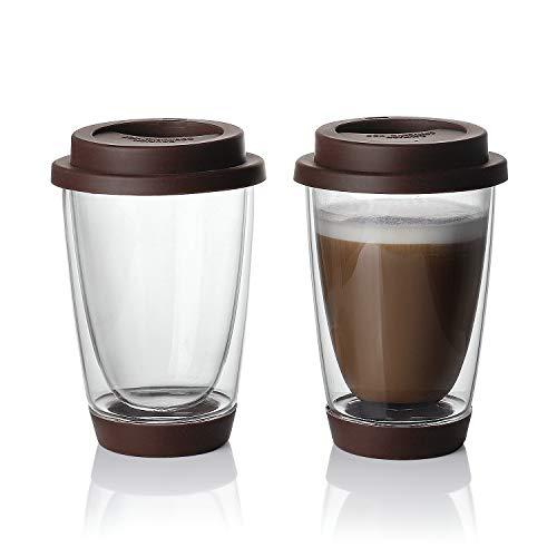 Sweese Glass Travel Coffee Becher, doppelwandig, thermoisoliert, Borosilikat, wiederverwendbar, mit Silikondeckel und -boden, perfekt für Cappuccino, Latte, Espresso, Tee, Getränke, 350 ml, Braun - Wand-glas-tee-reise-becher