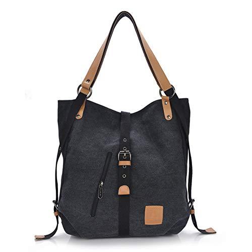 Gindoly Stilvolle Damen Canvas Handtasche Rucksack Umhängetasche 3 in 1 Große Multifunktionale Tasche für Arbeit Schule Alltag(Schwarz)