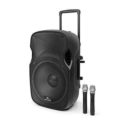 Malone PP-2915BTR • Altoparlante PA Attivo • Sistema PA • Cassa PA • Potenza di Picco 900W • Porta USB/SD/MMC • 2x Microfono Wireless VHF • Colore Nero