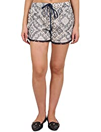 9teenAGAIN Women's Rayon Printed Nightwear Shorts(Blue & White)