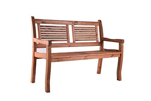 2 Sitzer Gartenbank Holz massiv SIENA von BOMI® | Holzbank mit Lehne Kirschbaum wetterfest lasiert FSC Kiefernholz 120cm | Sitzbank Garten Parkbank Balkonbank | hochwertige Gartenmöbel zum Relaxen