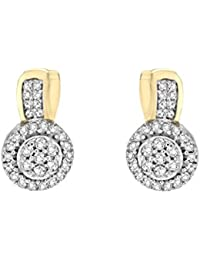 Pave Prive Women's 9ct Yellow Gold Round White Diamonds Circle Stud Earrings