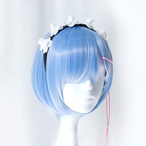 WUX Re: Das Leben in Einer Anderen Welt von Null (Rem/Ram) Anime Cosplay Rose Net Perücken Gradient Hochtemperaturbeständige Faser Kurzes Haar 14 Zoll (Farbe : Blau) -