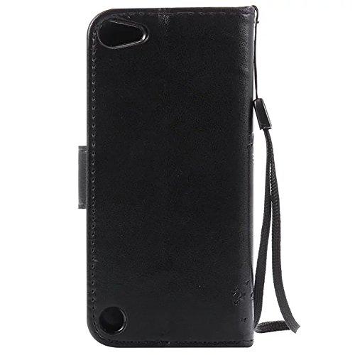 iPhone Case Cover Geprägte Blumen Katze und Baum-Fall, Solid Color PU-Leder-Kasten-Silikon-Abdeckung Mappen-Standplatz mit Handschlaufe für iPod touch 5 ( Color : Black , Size : IPod Touch 5 ) Black