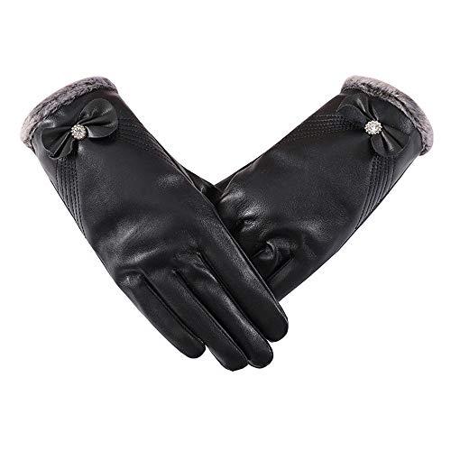 FFZ Leder Handschuhe Damen, Winter Warm Wasserdichten Touchscreen Gefüttert Aus Kaschmir Wolle Casual Outdoor Sports Handschuhe,Schwarz