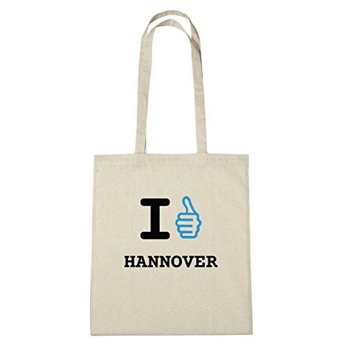 JOllify Hannover Borsa di cotone B711 schwarz: New York, London, Paris, Tokyo natur: I like - Ich mag