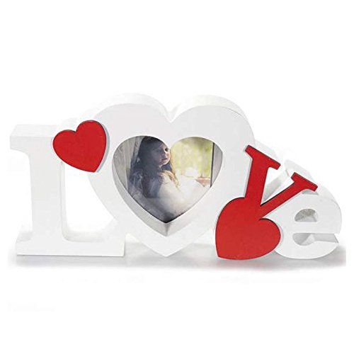 Cornice porta foto scritta love con cuore in legno da appoggio semi lavorato e dipinto a mano, idea regalo per il tuo lui o la tua lei a san valentino per rendere la tua casa un po più romantica.