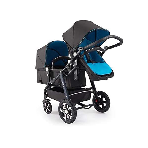 Baby Strollers Double Pushchair Twins Tandem Pushchairs, Reversible Seat Convertible Front And Rear Seats Lightweight with Convertible Bassinet Stroller Extended Canopy/Large Storage Basket,Blue MYRCLMY ♥TWIN STROLLER: Getting everywhere with two little ones has never been easier, thanks to the Double Strollers; you can glide around town even when you only have one hand free to steer; you can even roll through a standard size doorway. ♥ADJUSTABLE BACKREST & CONNECTABLE SEATS :The backrest can adjust to fit baby's sleep posture to keep comfortable sleeping. Two seats can be connected to lengthen the seat. ♥SAFETY WHEELS & 5-POINT SAFETY BELTS:The springs in front wheels absorb shocks for easy to control direction and safety. The 5-point safety belt is equipped with each seat to ensure security while keeping your baby fit to the safety belt to feel comfortable. 9