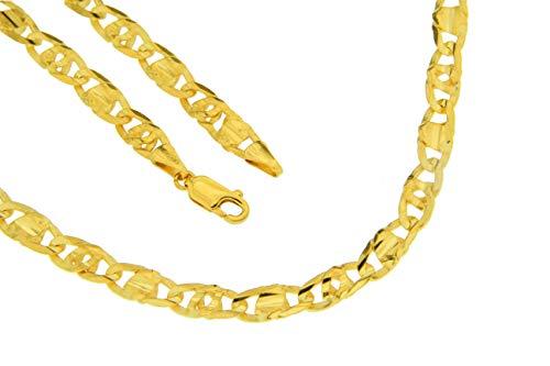 Achter-Rebhuhn-Plättchenkette massiv/ 6-fach diamantiert/konkav 585/- Gold, 14 Karat