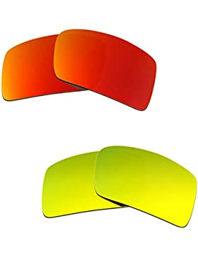 Hkuco Plus Mens Replacement Lenses For Oakley Eyepatch 2 Red/24K Gold Sunglasses