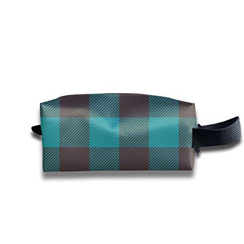 1 Skala - Dark Teal und Brown Plaid_19965 Tragbare Reise Make-up Kosmetiktaschen Organizer Multifunktions-Tasche Taschen für Unisex -