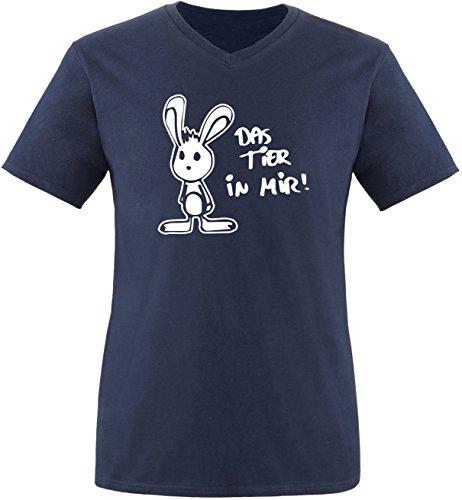Luckja Das Tier in mir Herren V-Neck T-Shirt Navy/Weiss