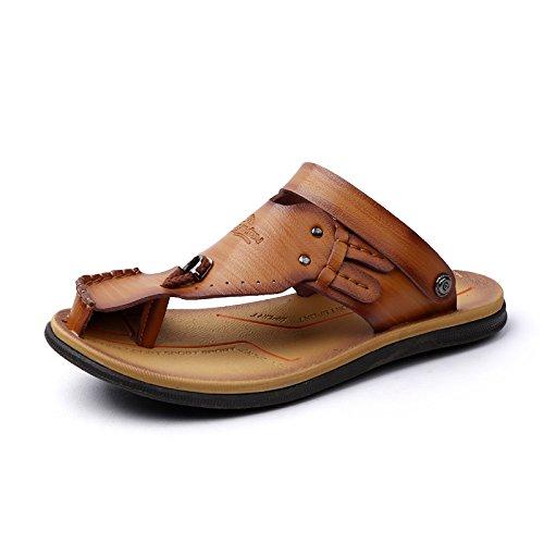Patear Sandalias Color Moda Zapatillas Transpirable Para Hombre Hombres Lin Marrón Anti Verano La Verano toe Xing Para De Claro De De YqYpr