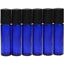 6x 10ml bottiglia di vetro rullo blu vuote ricaricabili a sfera in metallo bottiglia di vetro rotolo su vetro bottiglia per profumo Lozione Siero olio essenziale per aromaterapia