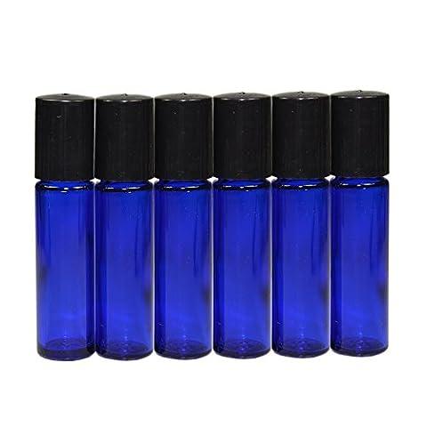 Rouleau en verre bleu 6x 10ml Bouteille vide rechargeable bouteille en verre boule Rouleau en métal sur bouteille en verre pour parfum Lotion pour le sérum Aromathérapie Huile Essentielle