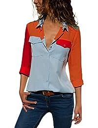 VJGOAL Otoño de Las Mujeres Ocasionales de Manga Larga Color Bloque Bolsillos botón clásico Salvaje Camisetas Tops Blusa