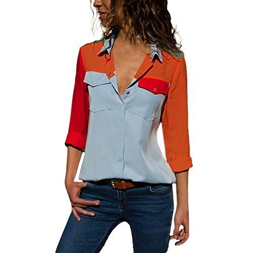 Chemisier Femme Chic Casual Manches Longues Col V à Zippé Mousseline Tops Blouse Mode Sweat Sweatshirt Veste Chemise T-Shirt Hauts Fluide Tunique Manteau