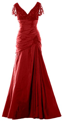 MACloth Women Cap Sleeves V Neck Lace Long Mother of Bride Dress Evening Gown Burgundy