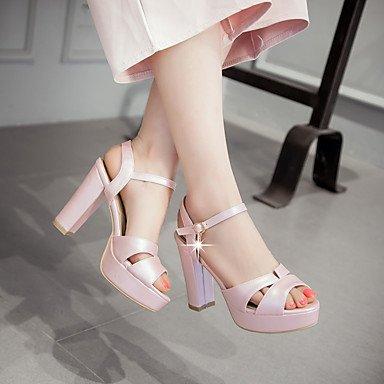 LvYuan Sandali-Matrimonio Ufficio e lavoro Serata e festa-Comoda Cinturino alla caviglia-Quadrato-PU (Poliuretano)-Verde Rosa Bianco Dorato Pink
