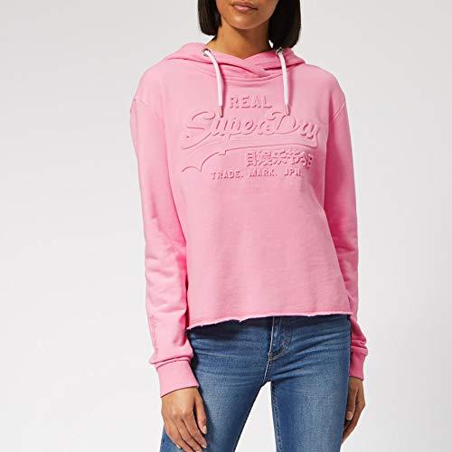 meilleurs prix pas cher à vendre prix réduit Superdry V Logo Emboss College Crop Hood Capucha, Rosa (Fondant Pink J4g),  X-Small (Talla del Fabricante: 8) para Mujer