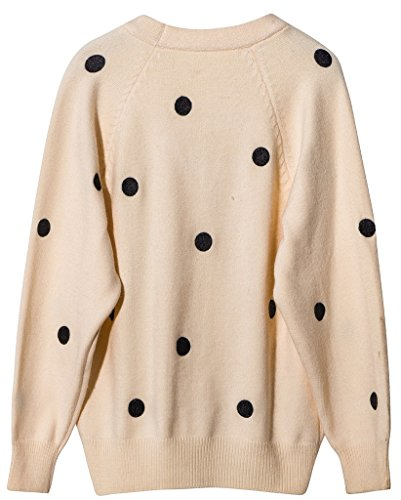 Vogueearth Femmes Longue Manche Classic Polka Dots Knit Cardigan Sweater Chandail Tricots Beige