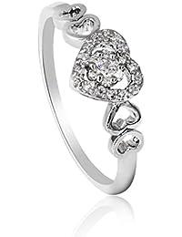 Fashion Plaza couleur argent en forme de cœur imitation diamant Bague de Fiançailles R395
