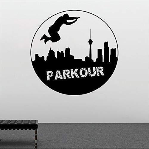 (Hlonl Sport Vinyl Wall Decal Parkour Wandaufkleber Neue Design StreetSport Wand Fenster Poster Parkour Liebhaber Geschenk 57 * 57 Cm)