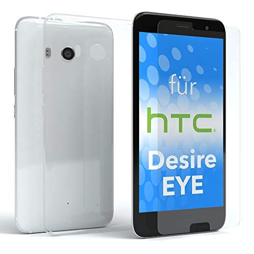 EAZY CASE Silikonhülle & Panzerglas im Set für HTC Desire Eye I Displayschutzglas, Panzerglas nur 0,3 mm 9H Härte, Schutzhülle Ultra dünn, Silikon Hülle, Backcover, Transparent/Kristallklar