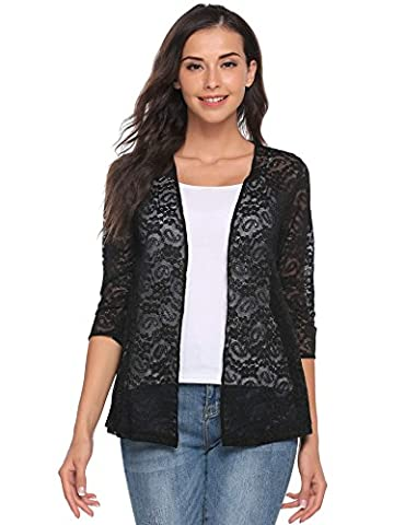Meaneor Women's 3/4 Sleeve Open Front Sheer Floral Lace Slim Fit Casual Cardigan Top