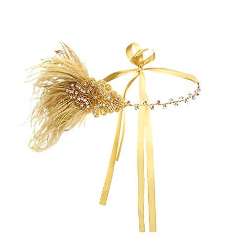 (Baoblaze 1920er/30er Jahre Zubehör Stirnband Flattert Kopfschmuck mit Feder Strass Lady Charleston Kostüm Haarschmuck Gatsby Schmuck - alles Gold)