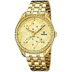 University Sports Press F16743/2 - Reloj de cuarzo para mujer, con correa de acero inoxidable chapado, color dorado