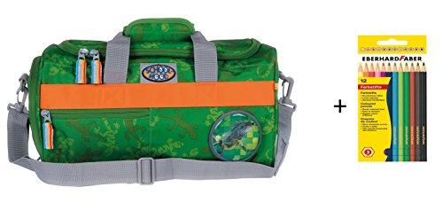Preisvergleich Produktbild Sporttasche mit Patchy Timeless N.G. von School-Mood mit 12 Faber Farbstiften - versch. Farben (Gecko / Greenish)