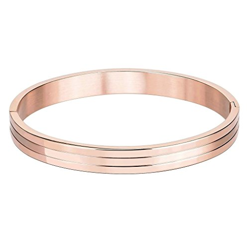 Bishiling Modeschmuck Edelstahl Armband für Herren Jungen Hochglanzpoliert 3 Streifen Armband Rosegold Groß