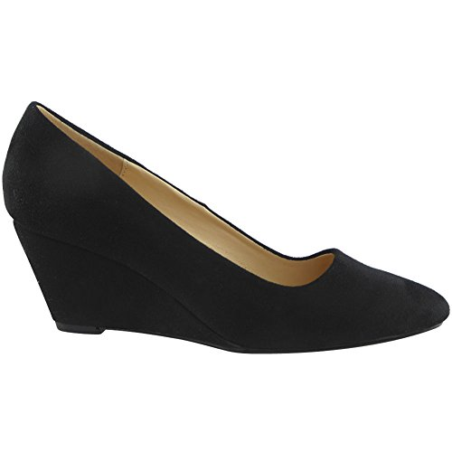 Womens Ladies Low Mid Heel Casual Office Work Pointed Toe Court Shoes Size 3-8 Black Suede