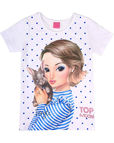 Top Model Mädchen T-Shirt, weiß, Größe 128, 8 Jahre