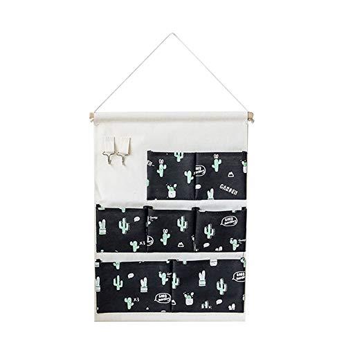 Toruiwa Hängender Organizer Wand Hängetasche Kaktus-Muster Hängeorganizer Hängeaufbewahrung Aufbewahrungstasche mit 7 Taschen 2 Haken für Kinderzimmer Badezimmer Schlafzimmer Büro